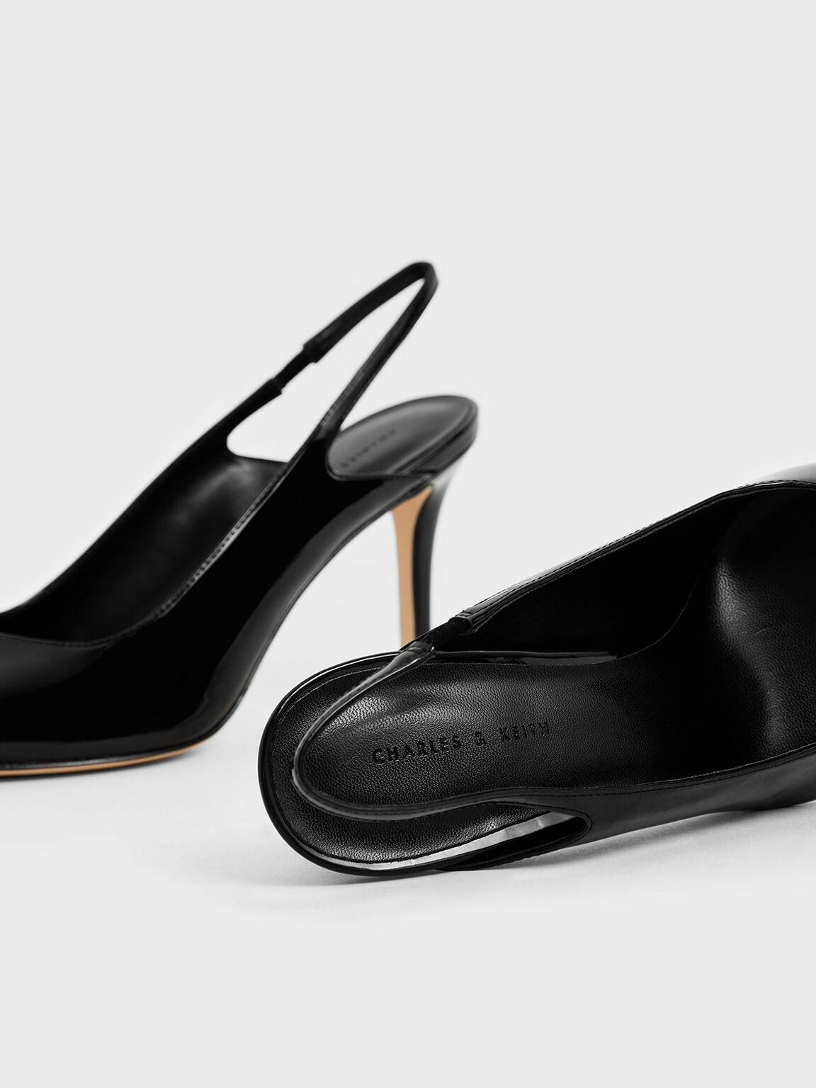 Patent Slingback Stiletto Pumps, Black, hi-res
