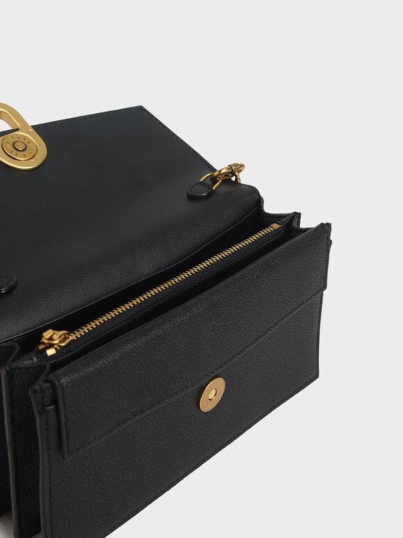 Stone-Embellished Envelope Wallet, Black, hi-res