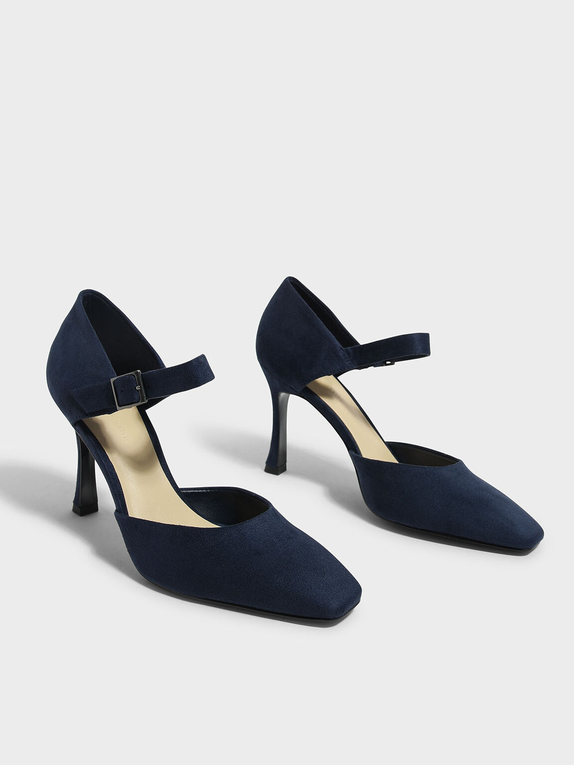 Sculptural Heel Mary Janes, Dark Blue, hi-res
