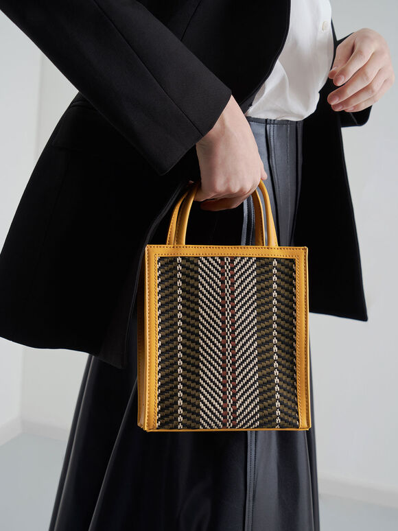 Woven Double Handle Tote Bag, Yellow, hi-res