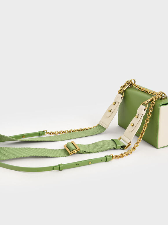 Metallic Push-Lock Clutch, Green, hi-res