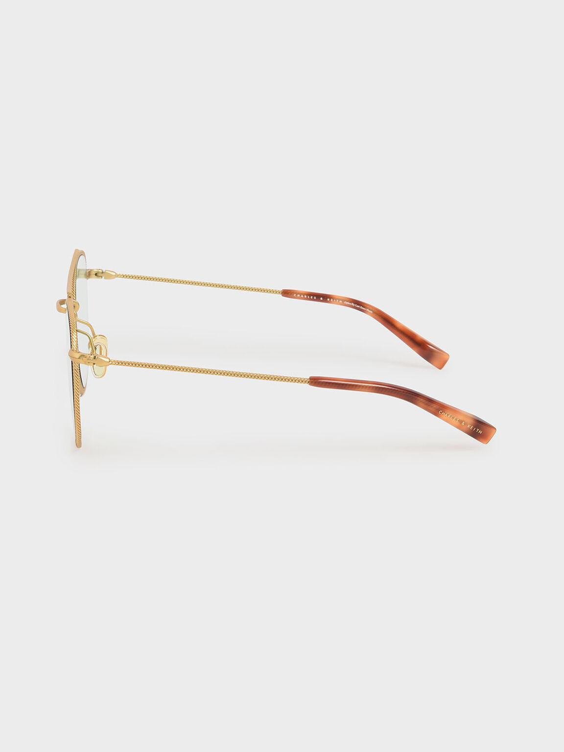 Double Bridge Wireframe Sunglasses, Green, hi-res