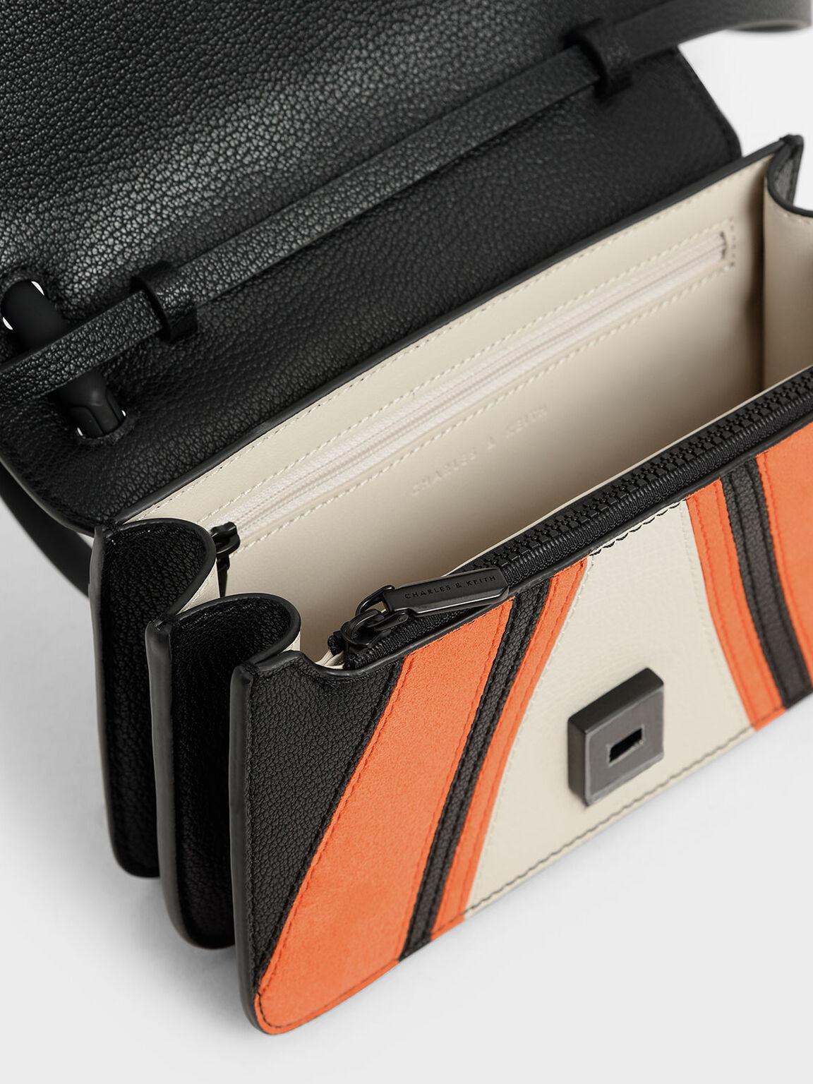 Microsuede Acrylic Handle Wristlet Clutch, Multi, hi-res