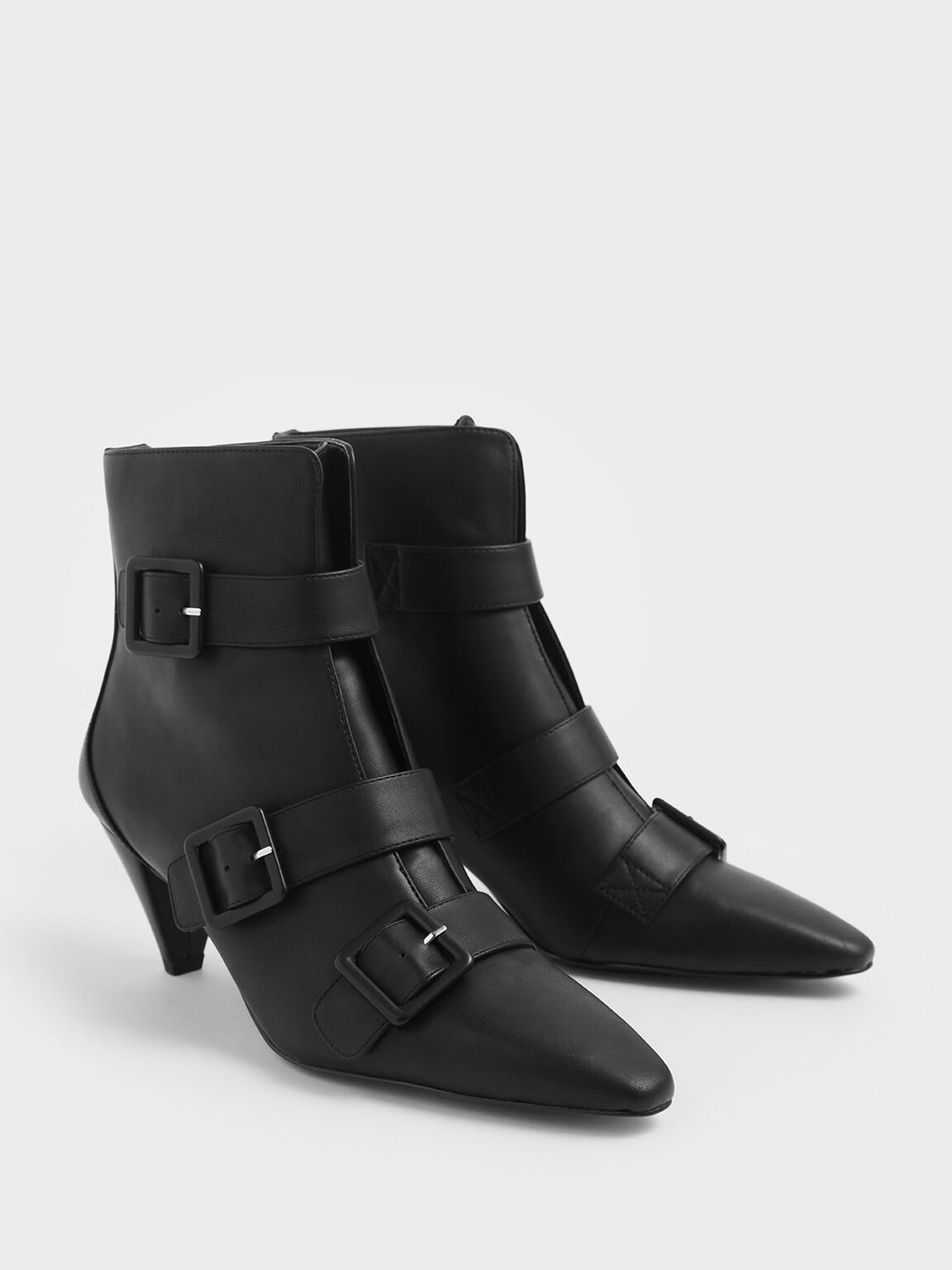 Buckle Strap Corduroy Cone Heel Ankle Boots, Black, hi-res