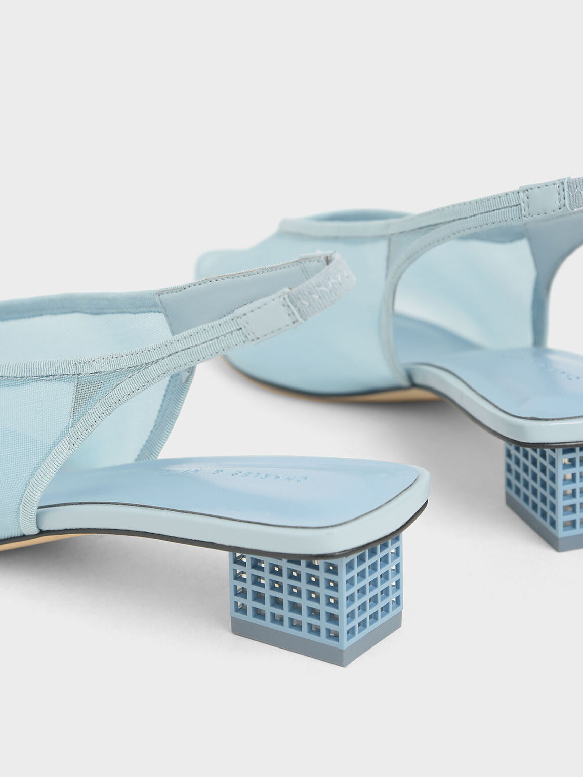 Mesh Slingback Heels, Light Blue, hi-res