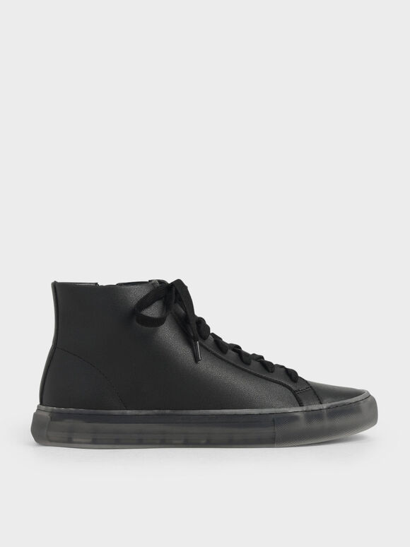 Clear Sole High Top Sneakers, Black, hi-res