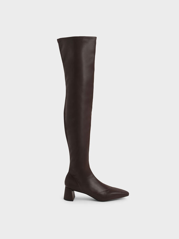 Thigh High Blade Heel Boots, Dark Brown, hi-res