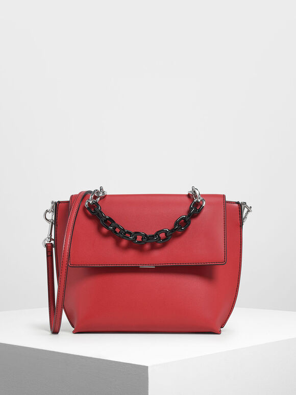 Single Chain Handle Bag, Red, hi-res