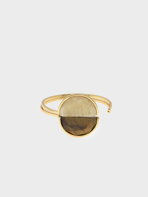 Tiger's Eye Cuff Bracelet, Yellow, hi-res