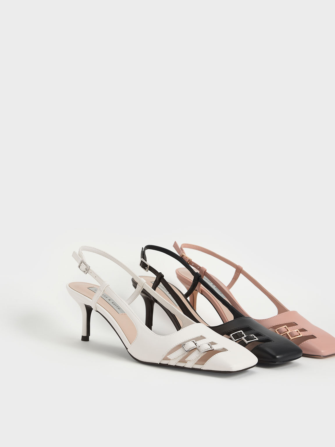 Cut-Out Buckled Slingback Court Shoes, Black, hi-res