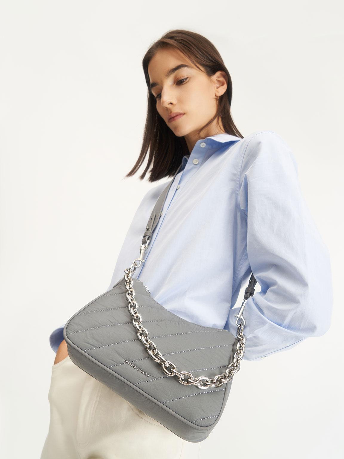Panelled Chain Handle Crossbody Bag, Grey, hi-res