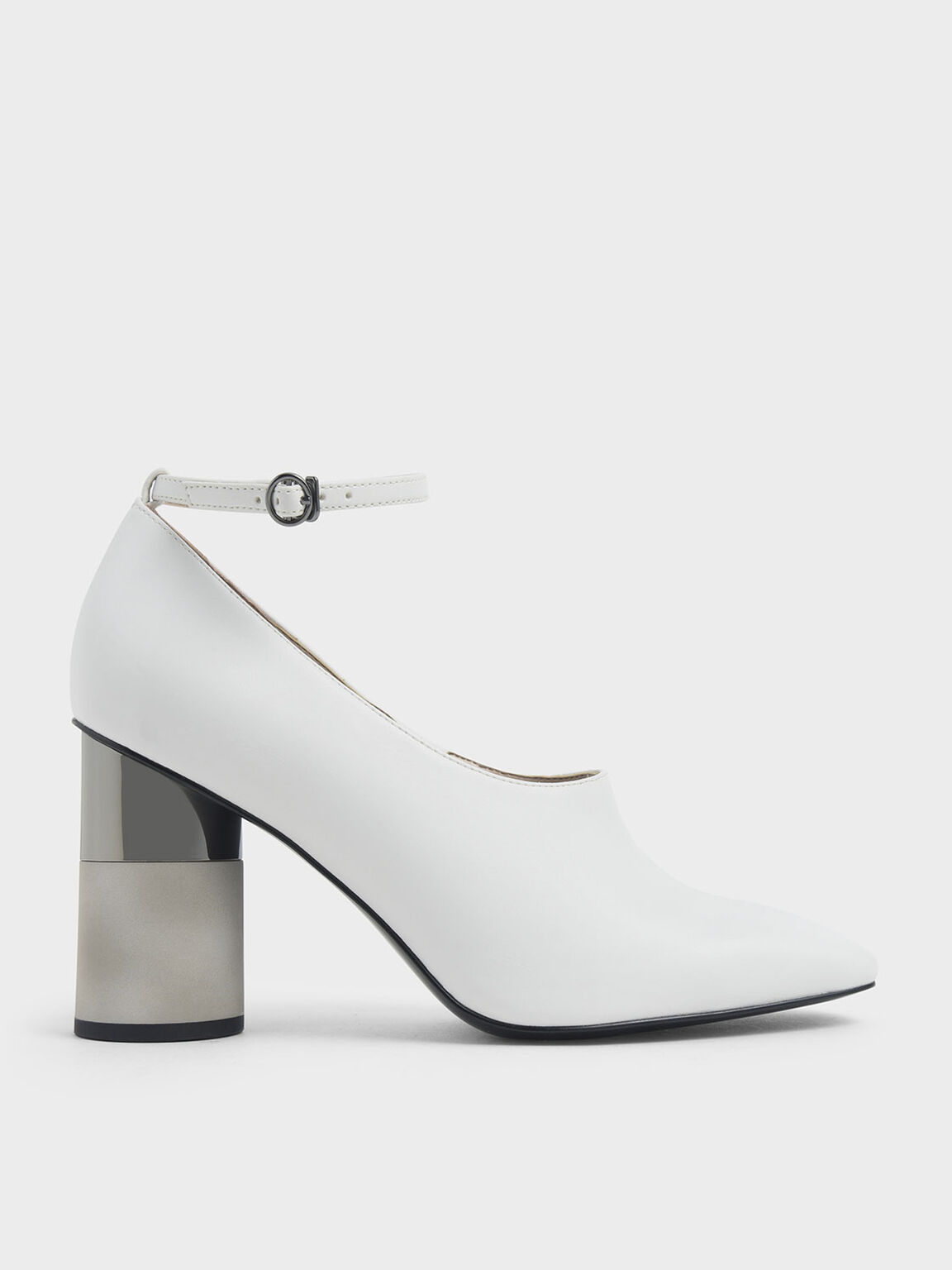 Ankle Strap Concrete Heel Pump, White, hi-res