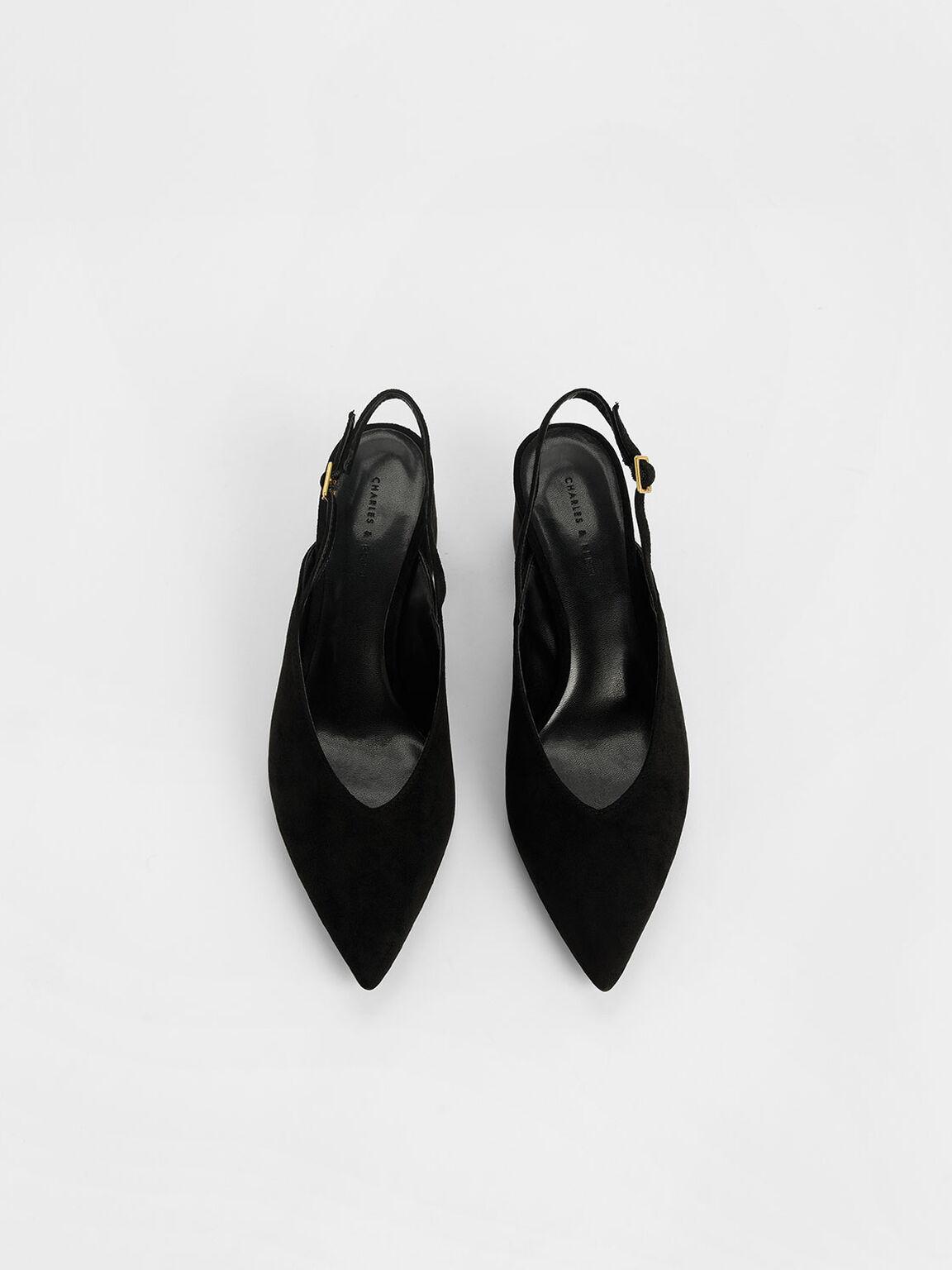 Textured V-Cut Block Heel Slingback Pumps, Black Textured, hi-res
