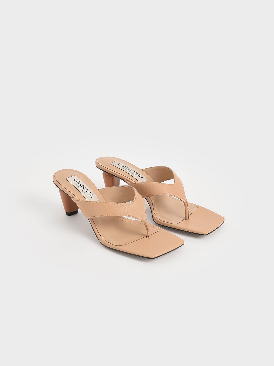 Leather Sculptural Heel Thong Sandals, Nude, hi-res