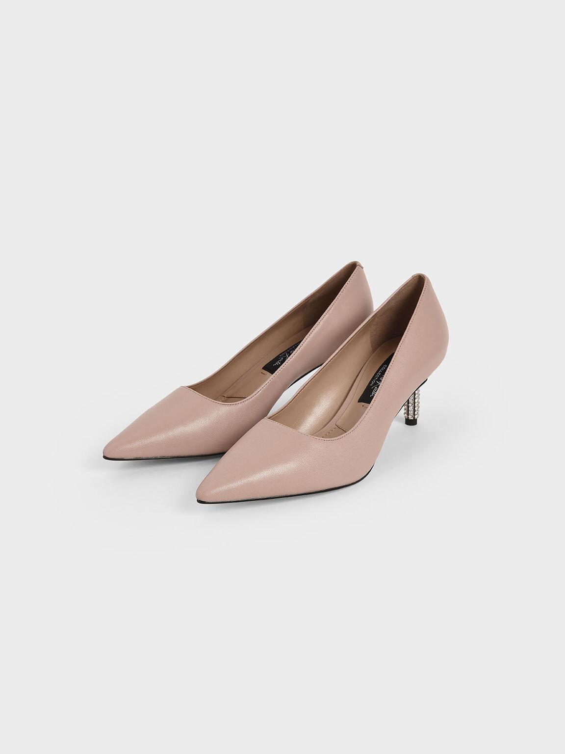 Leather Embellished Heel Pumps, Pink, hi-res