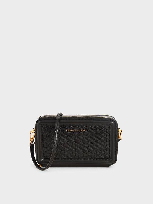 Woven Zip Around Wallet, Black, hi-res