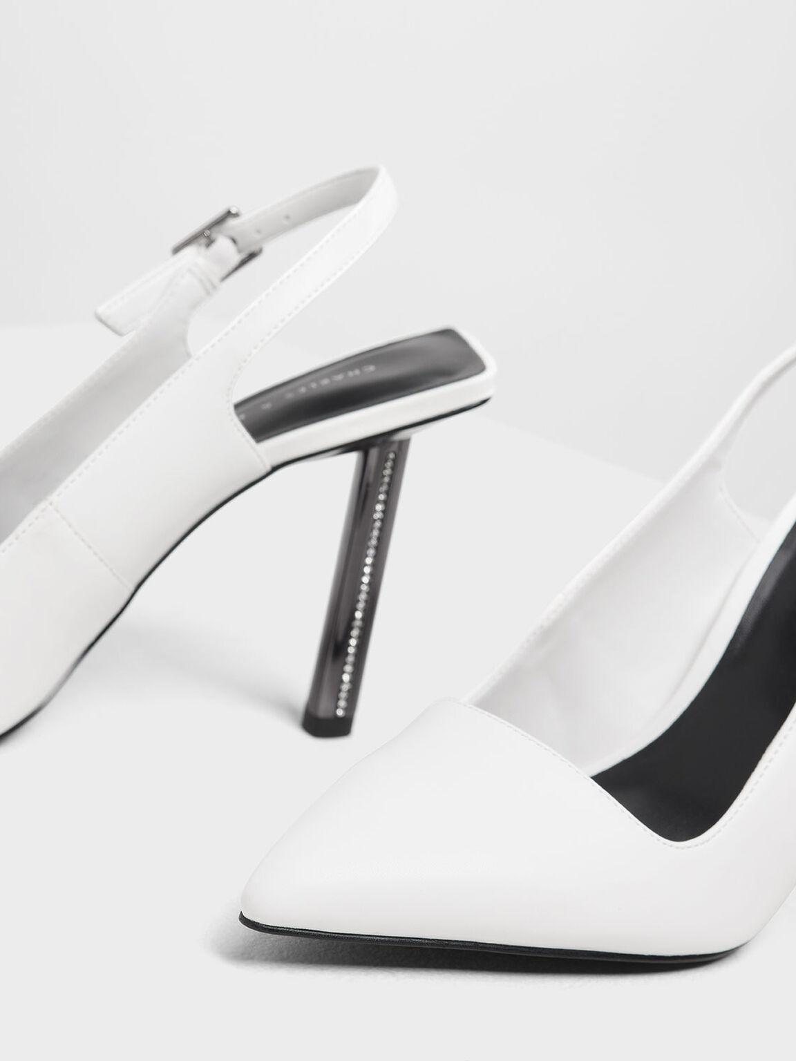 Gem Encrusted Blade Heel Pumps, White, hi-res