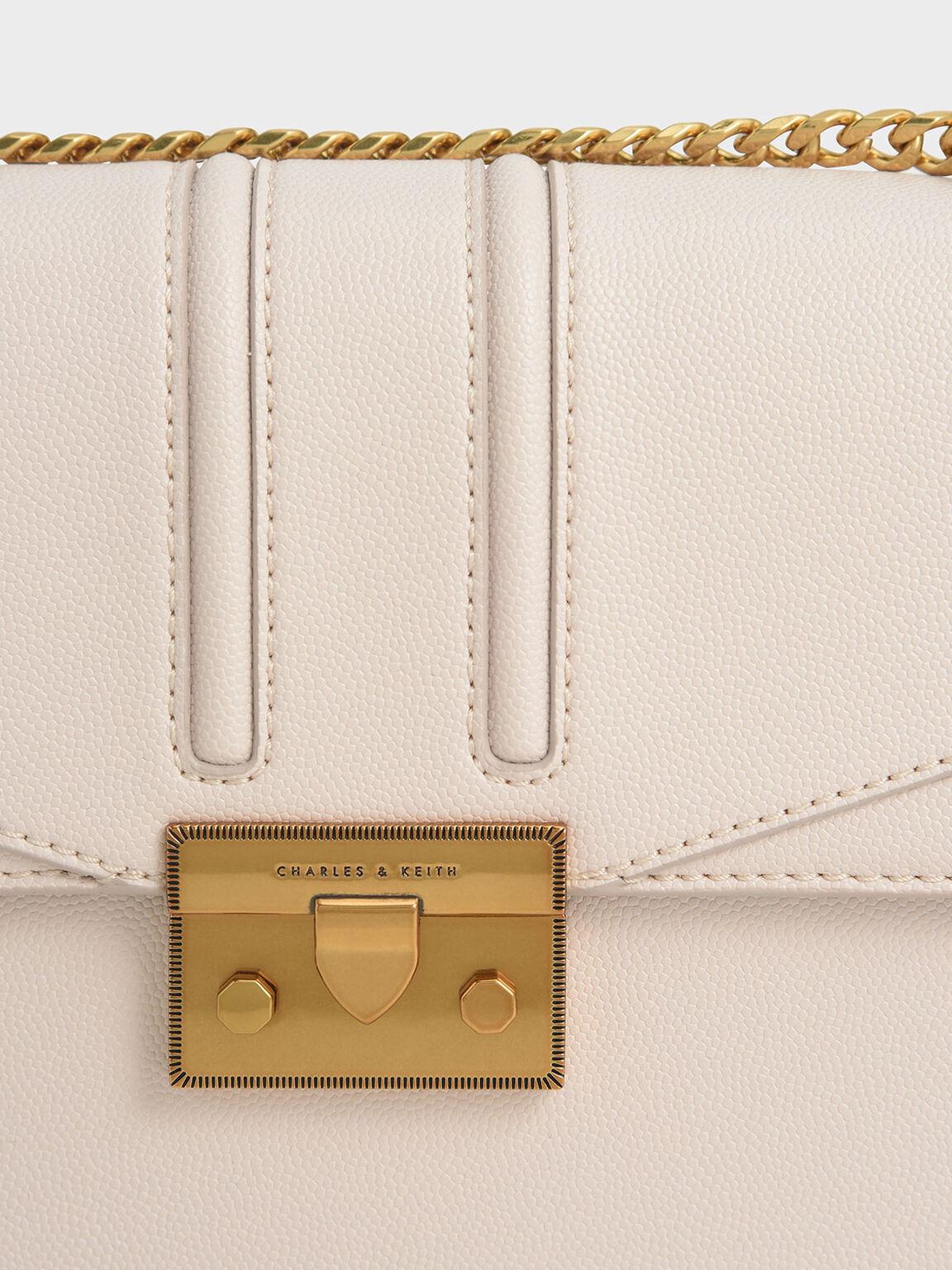 Metallic Push-Lock Shoulder Bag, Pink, hi-res