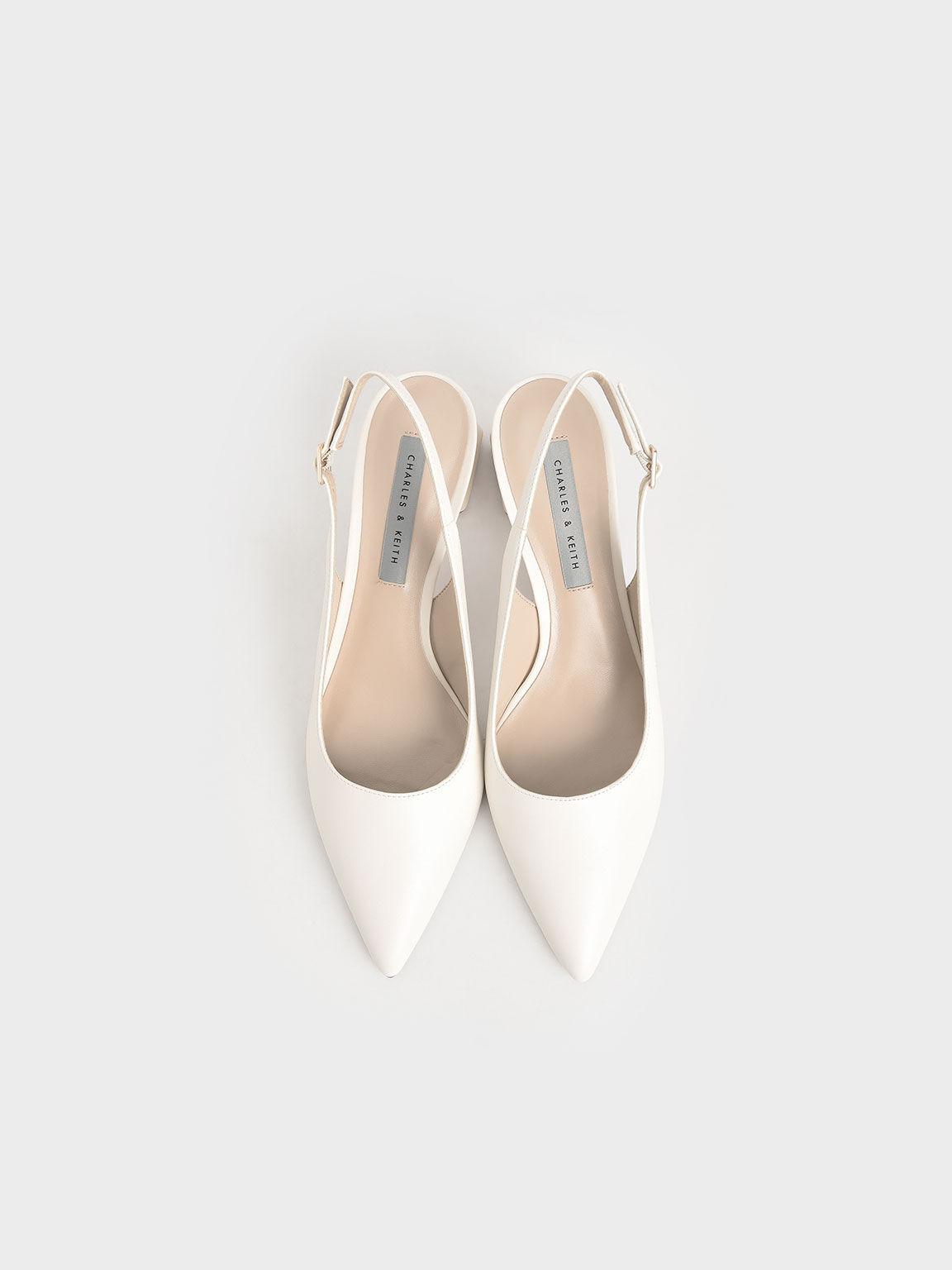 Metallic Accent Slingback Court Shoes, Cream, hi-res