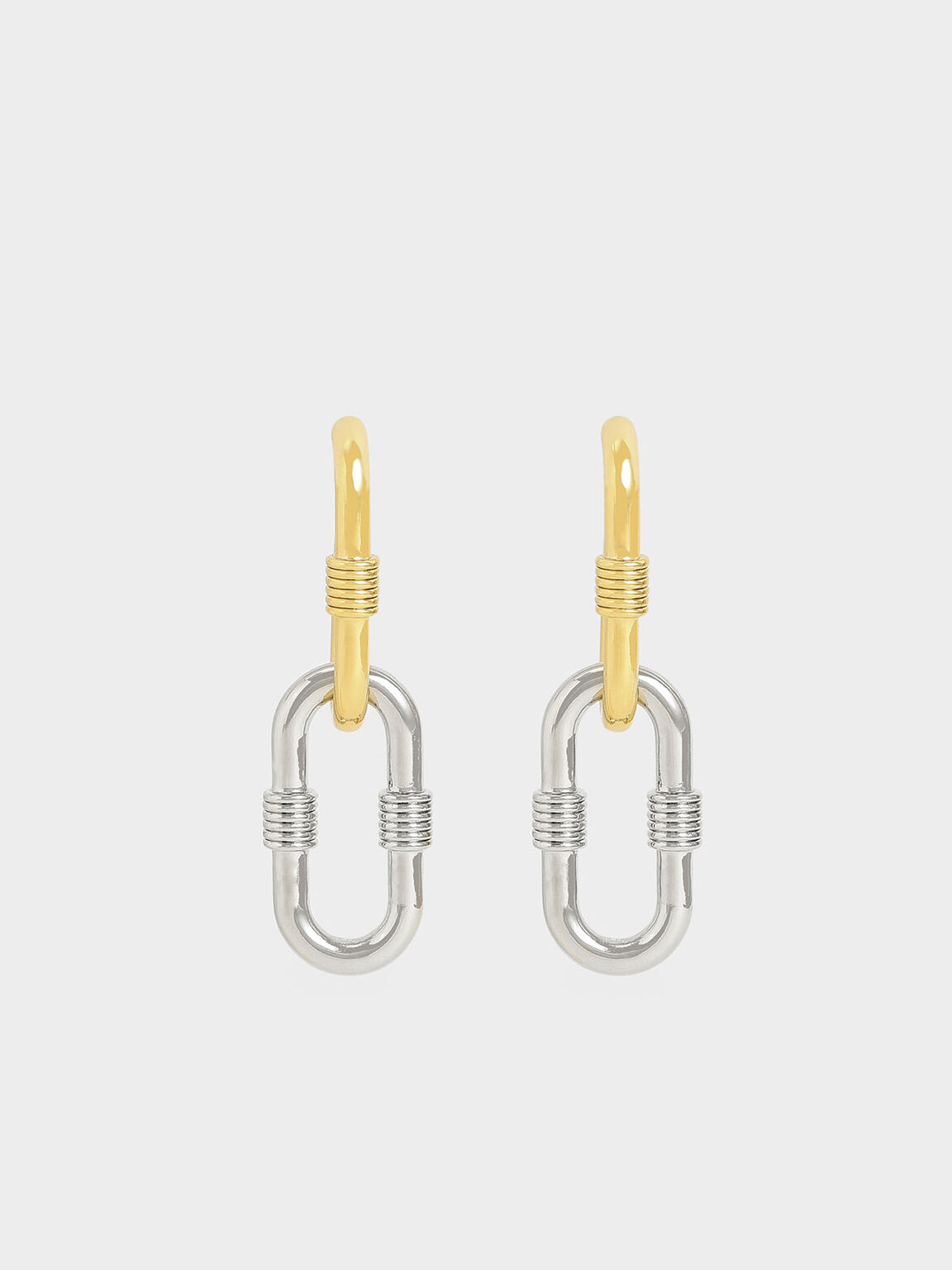 Ribbed Two-Way Chain Link Earrings, Multi, hi-res