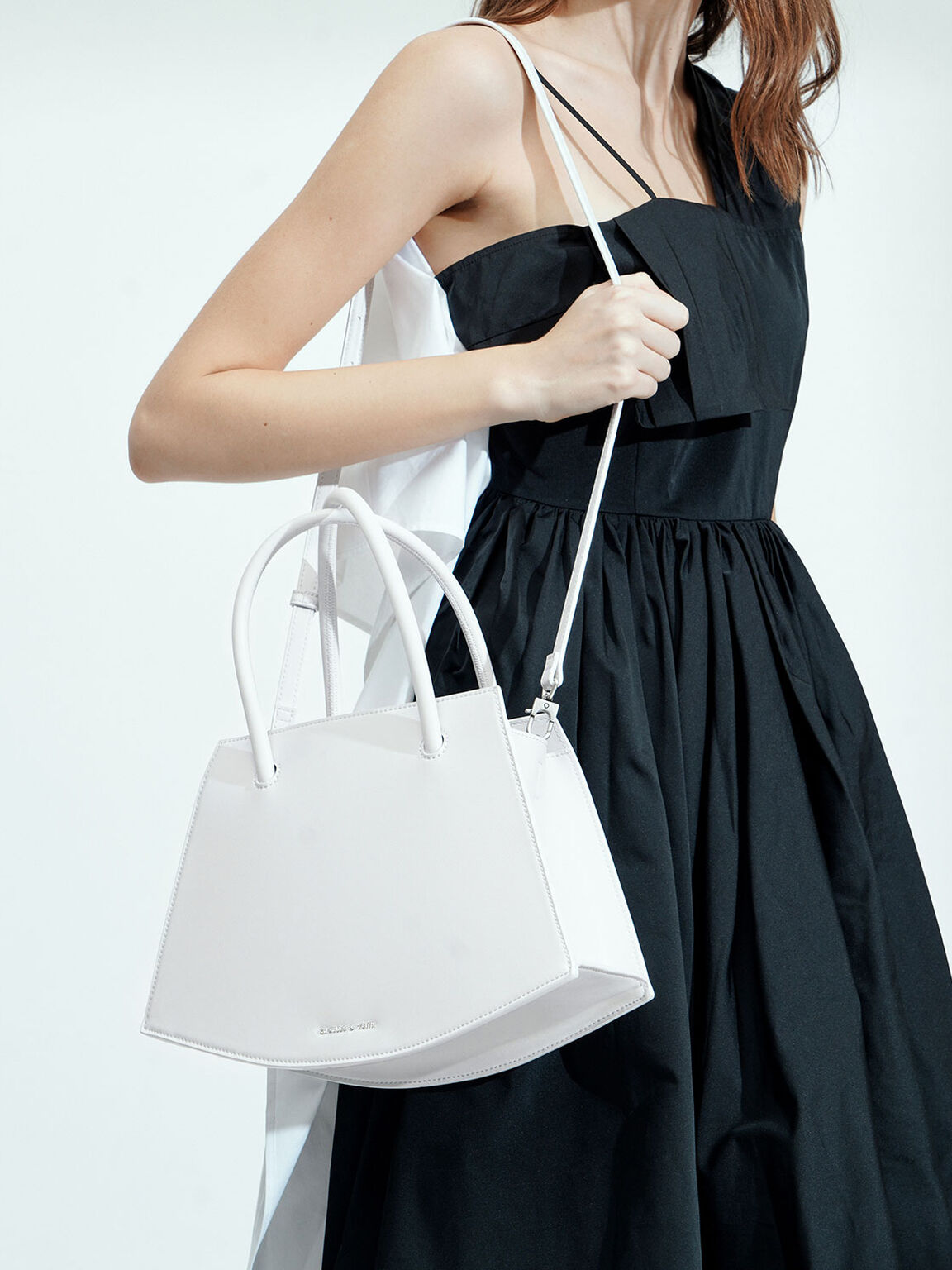 Curved Tote Bag, White, hi-res