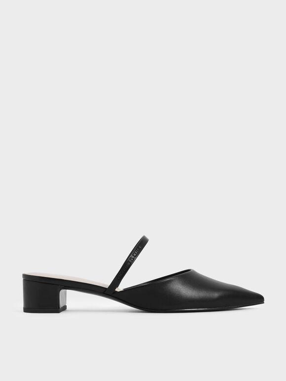Pointed Toe Mules, Black, hi-res