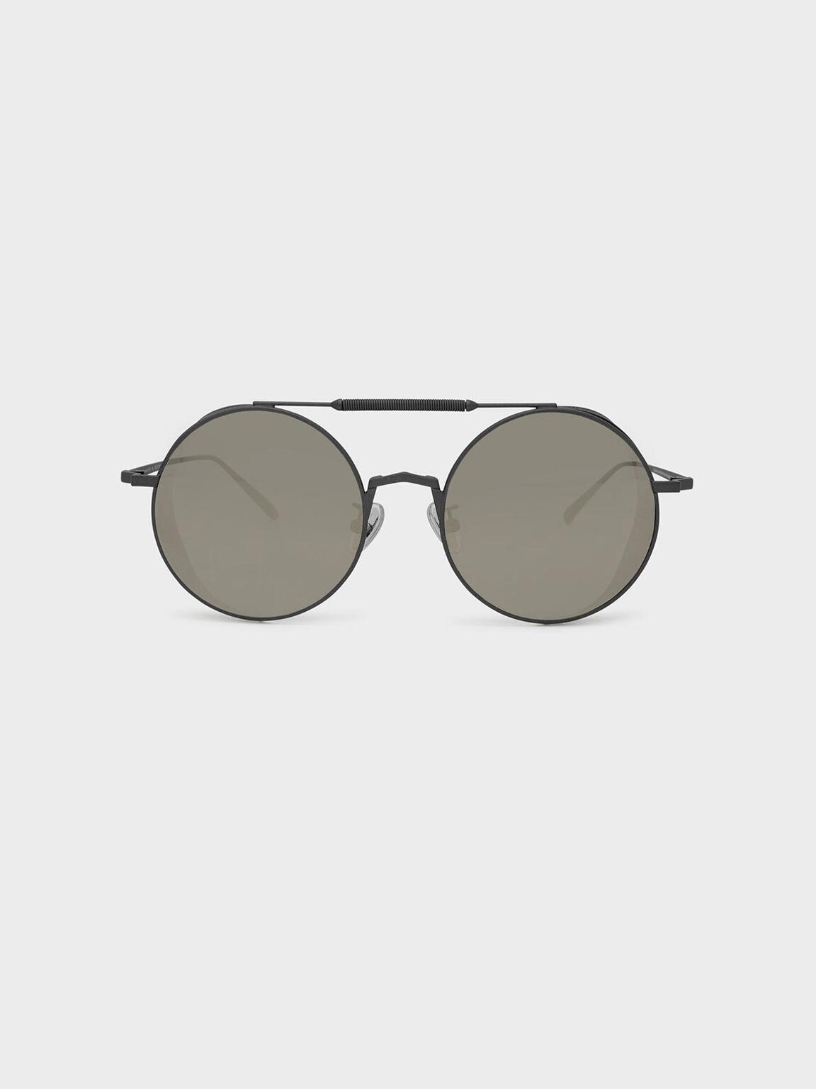 Mesh Detail Sunglasses, Gun Metal, hi-res