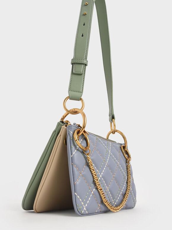 Quilted Metallic Handle Crossbody Bag, Light Blue, hi-res