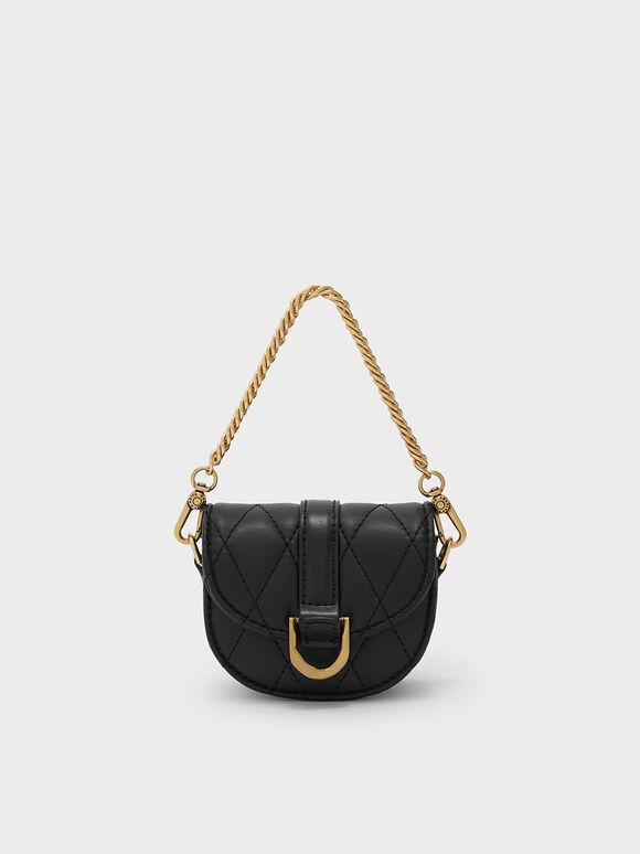 Micro Gabine Quilted Saddle Bag, Black Textured, hi-res