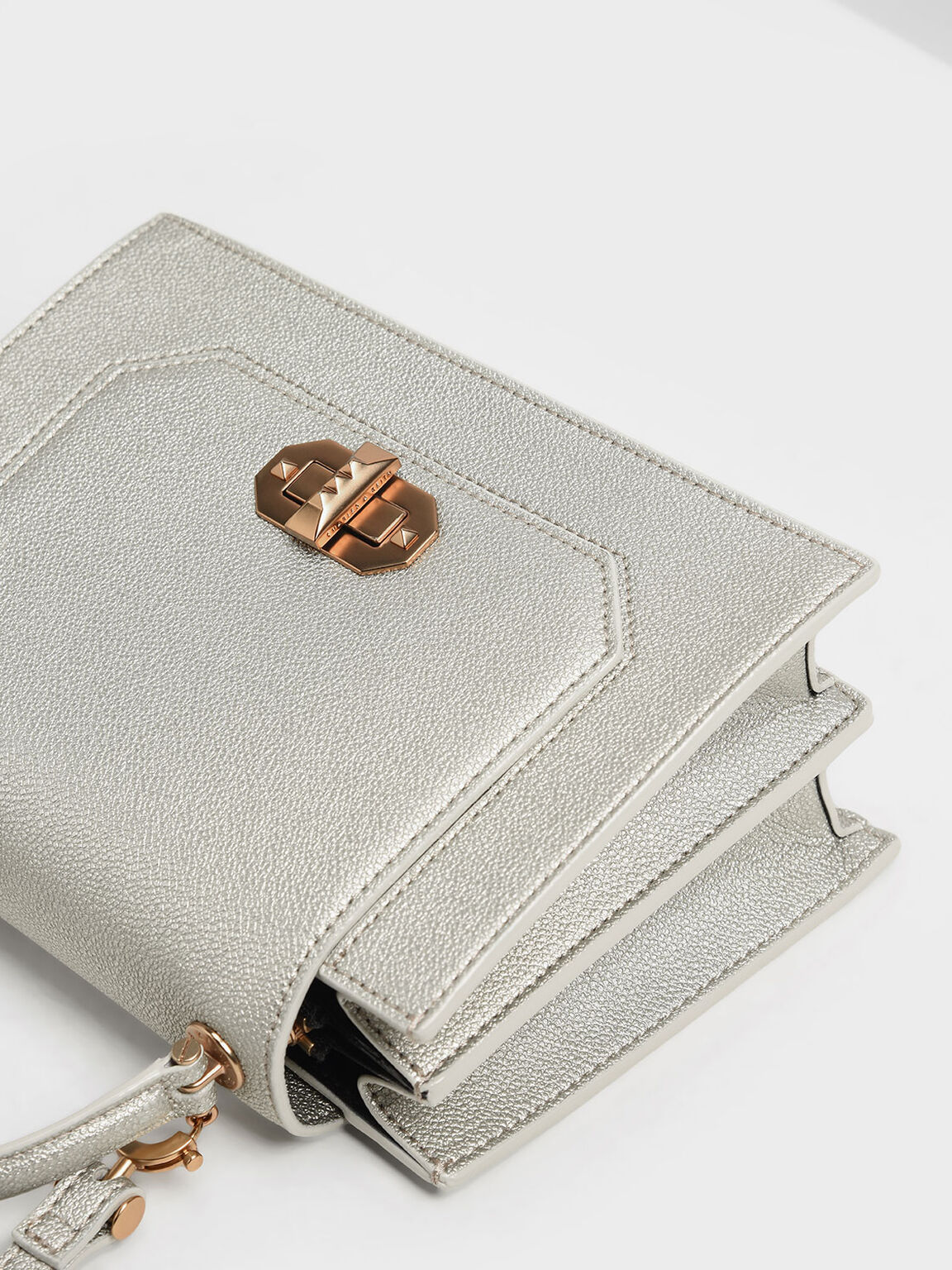 Turn Lock Top Handle Bag, Silver, hi-res