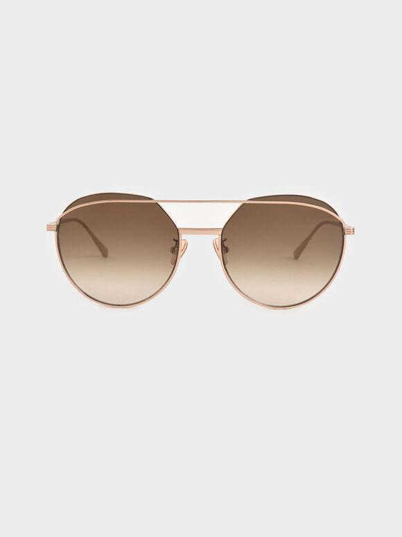 Double Bridge Wireframe Aviator Sunglasses, Rose Gold, hi-res