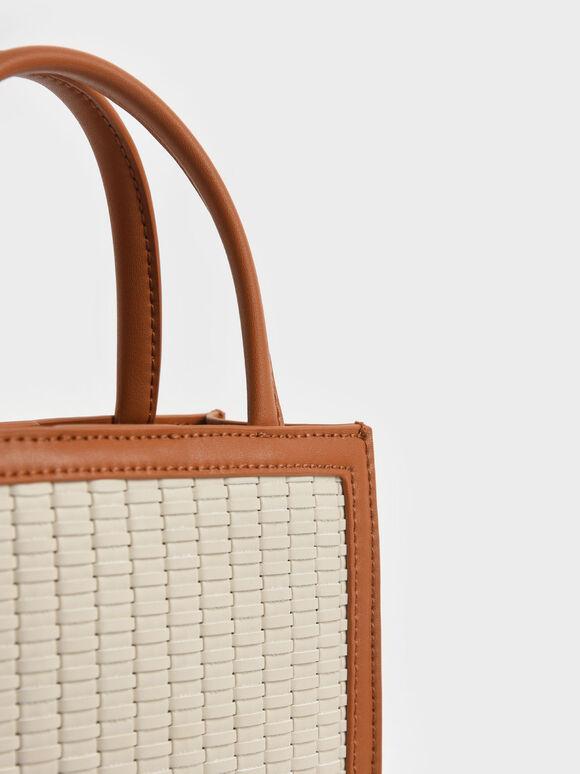 Woven Tote Bag, Cognac, hi-res