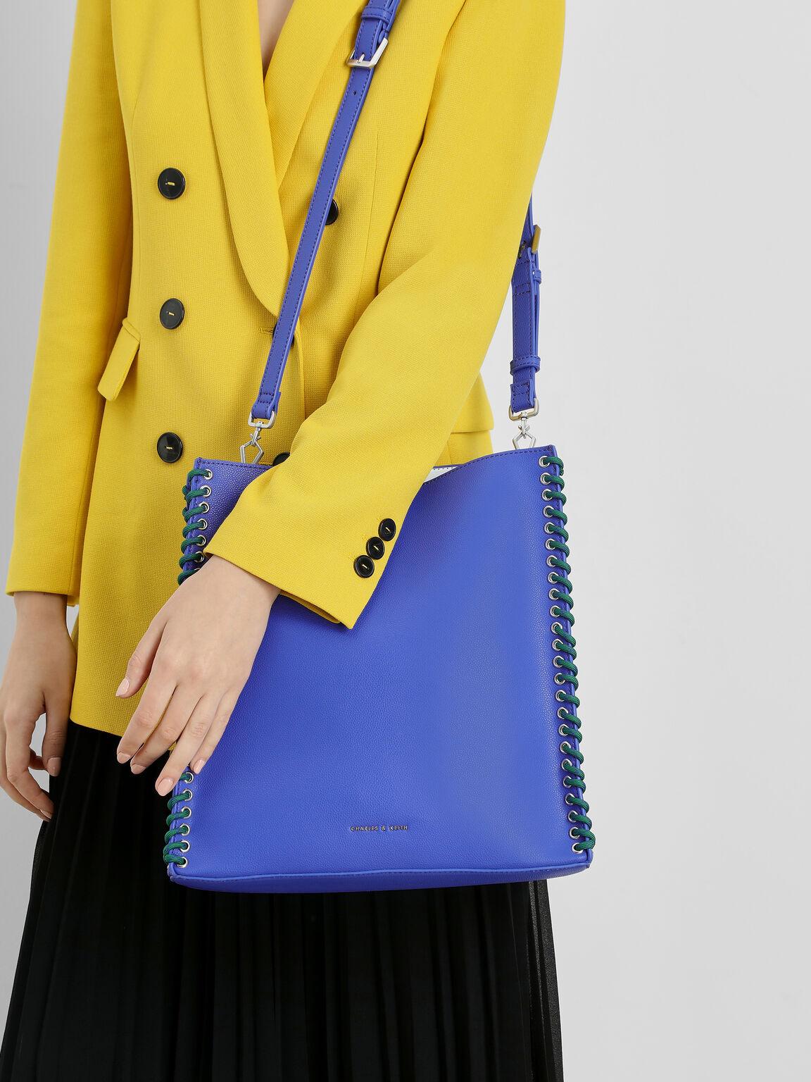 Whipstitch Trim Tote Bag, Blue, hi-res