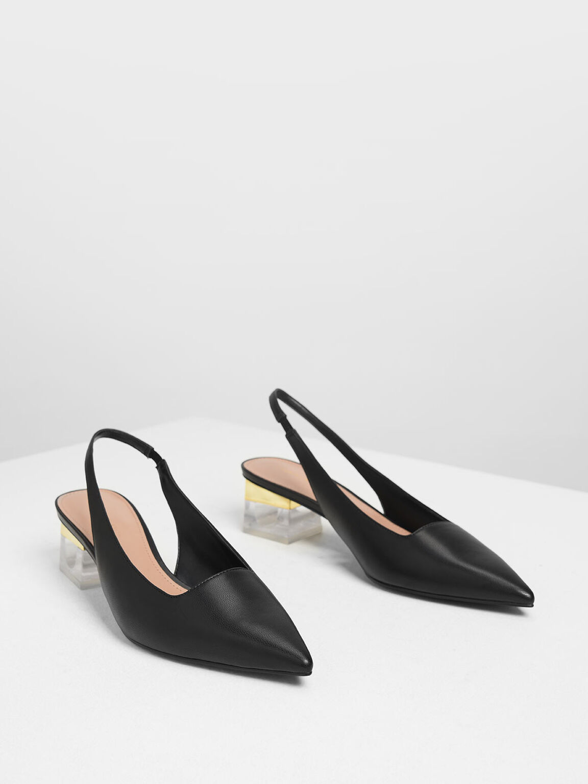 Lucite Heel Slingback Pumps, Black, hi-res