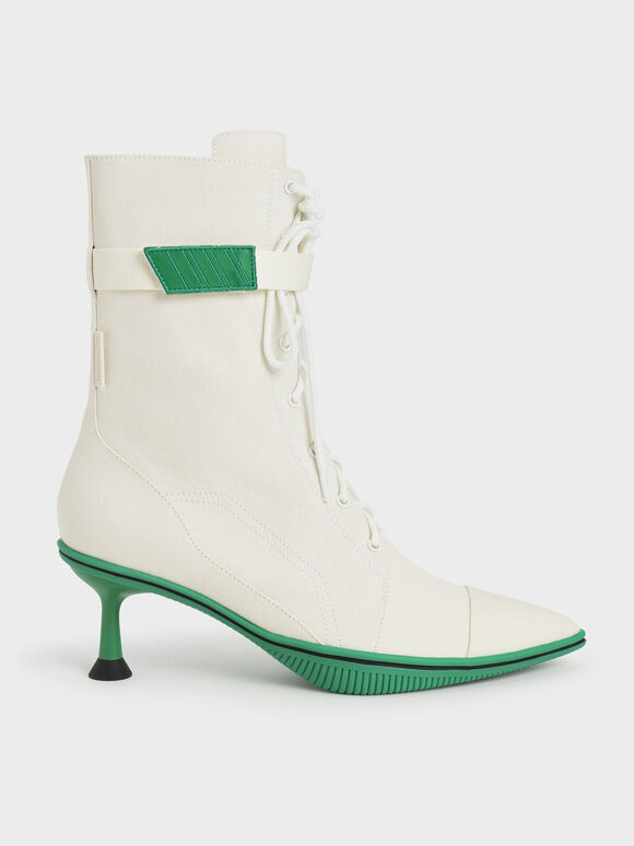 Recycled Cotton Lace-Up Ankle Boots, White, hi-res