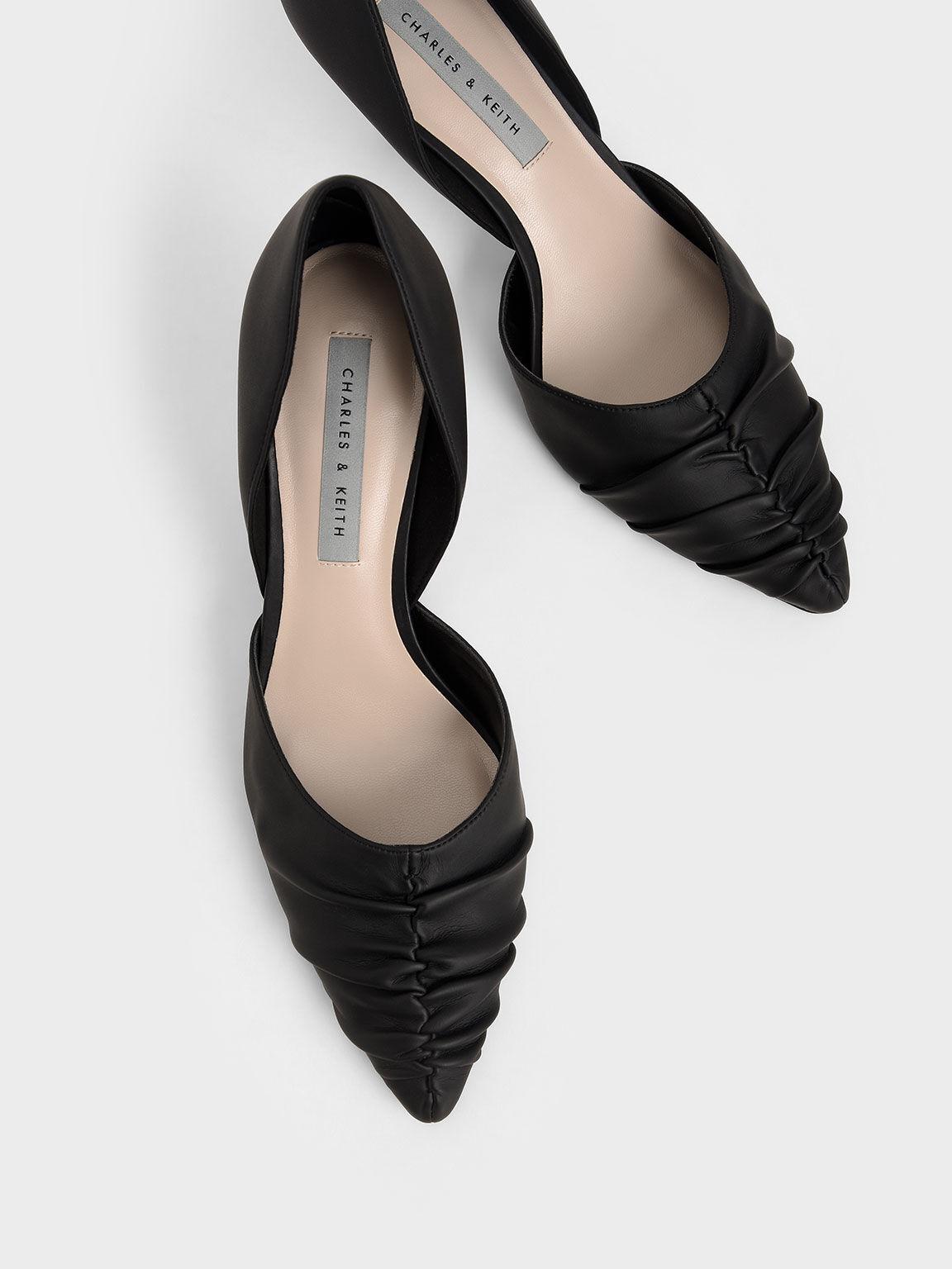 Ruched D'Orsay Court Shoes, Black, hi-res