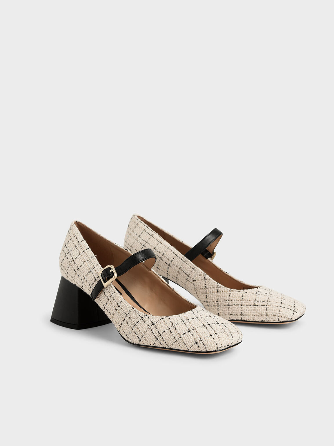 Tweed & Leather Mary Janes, Cream, hi-res