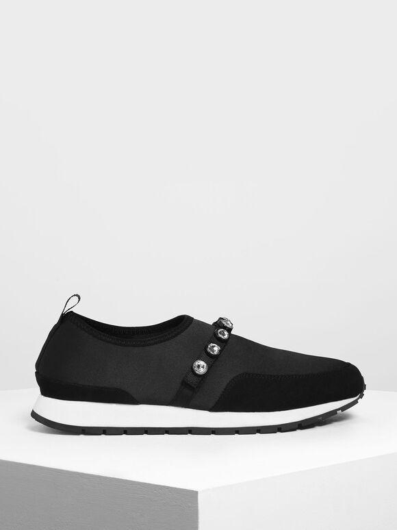 Embellished Slip-On Sneakers, Black, hi-res