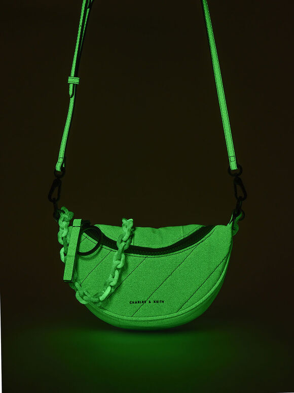 Glow-In-The-Dark Saddle Bag, Sage Green, hi-res