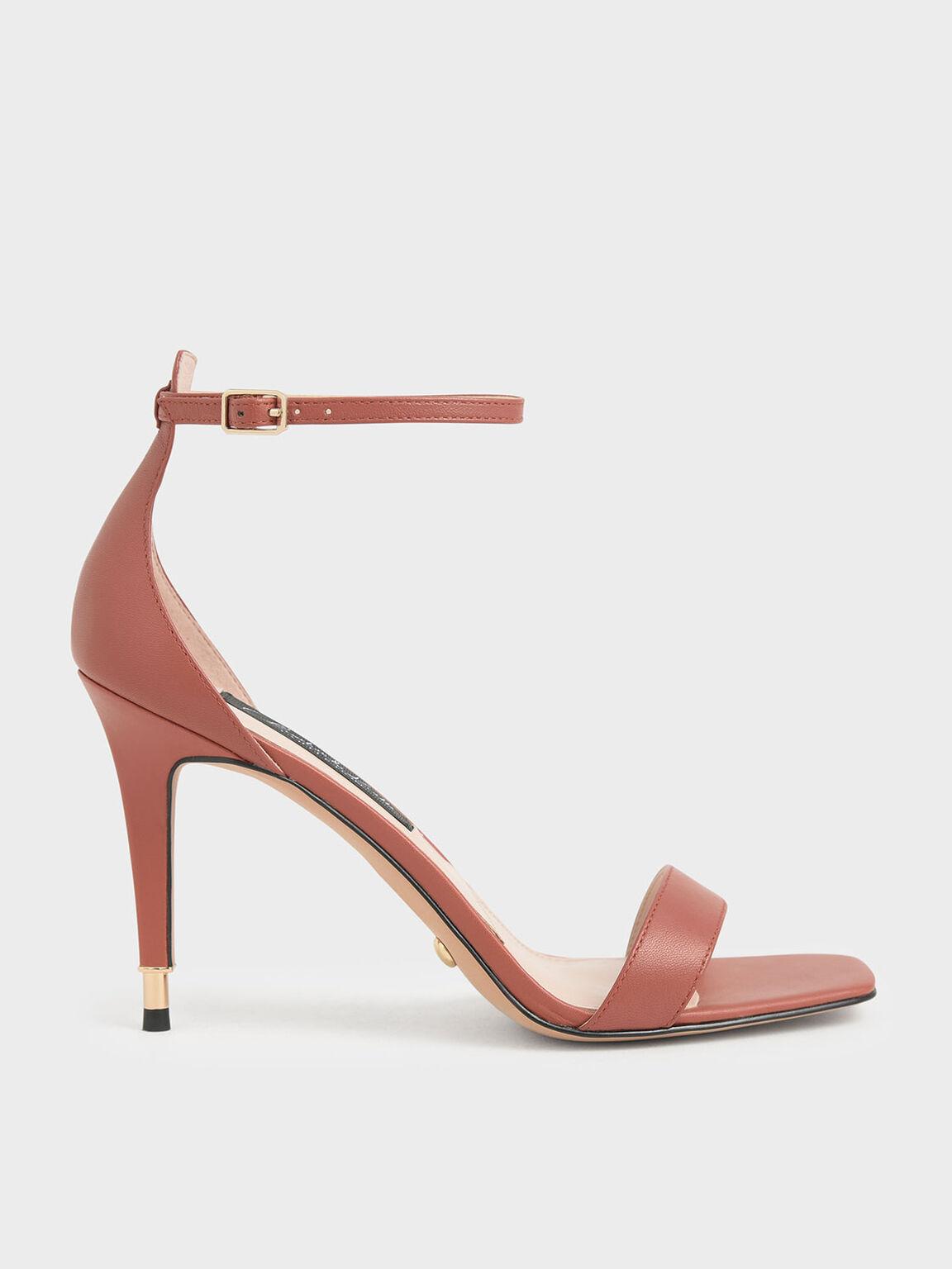 Leather Stiletto Heels, Brick, hi-res