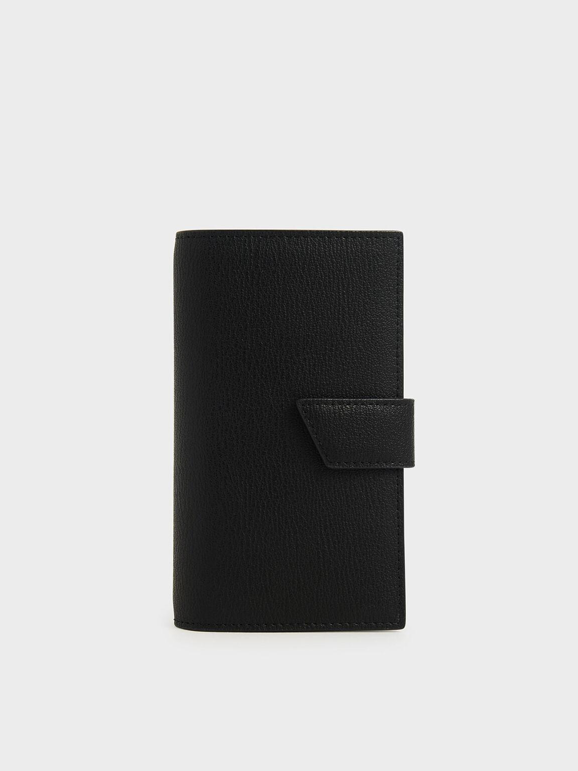 Snap Button Wallet, Black, hi-res