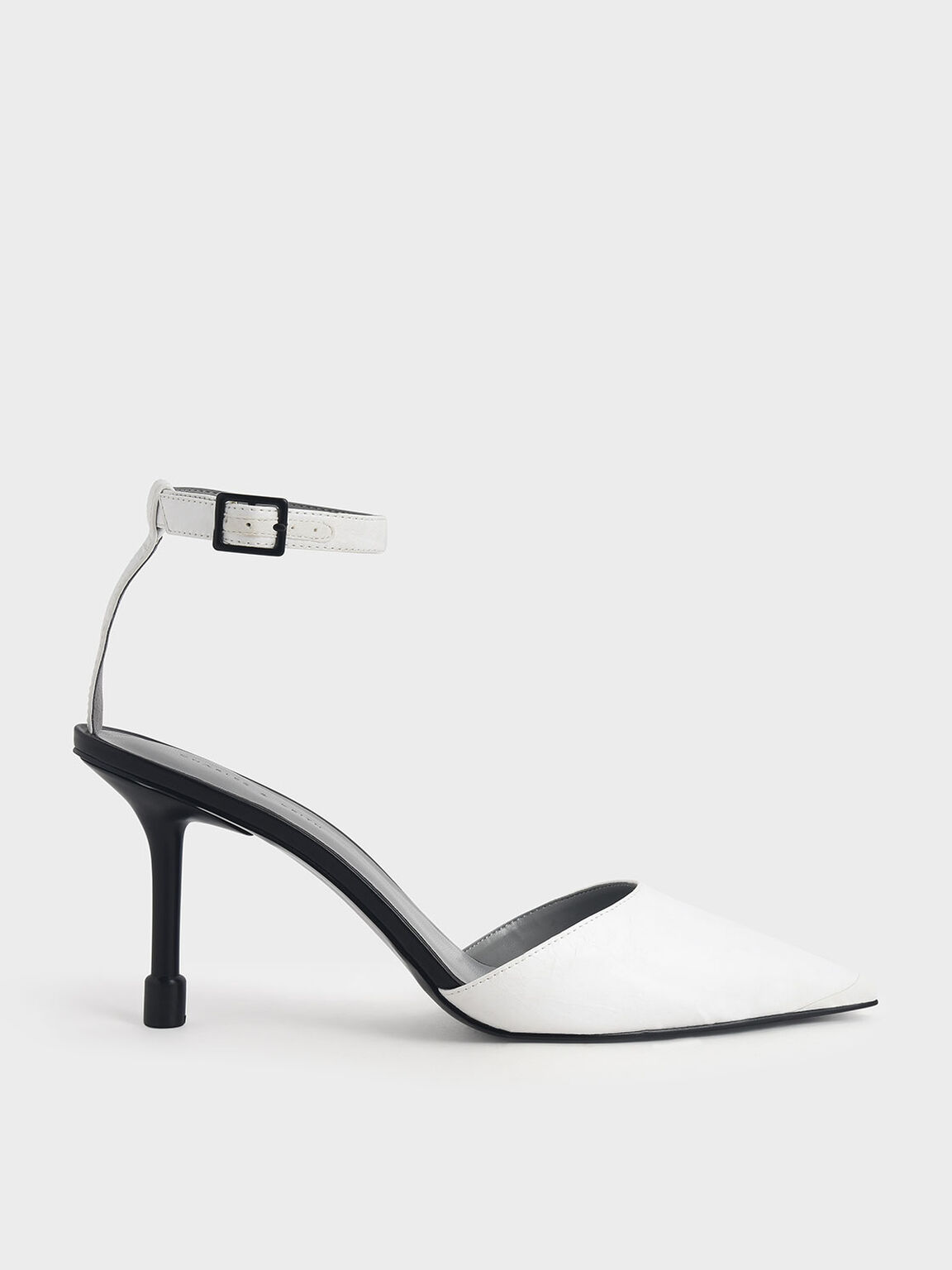 Ankle Strap Pointed Toe Pumps, White, hi-res