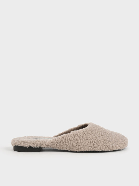 Recycled PET - Furry Mule Flats, Taupe, hi-res