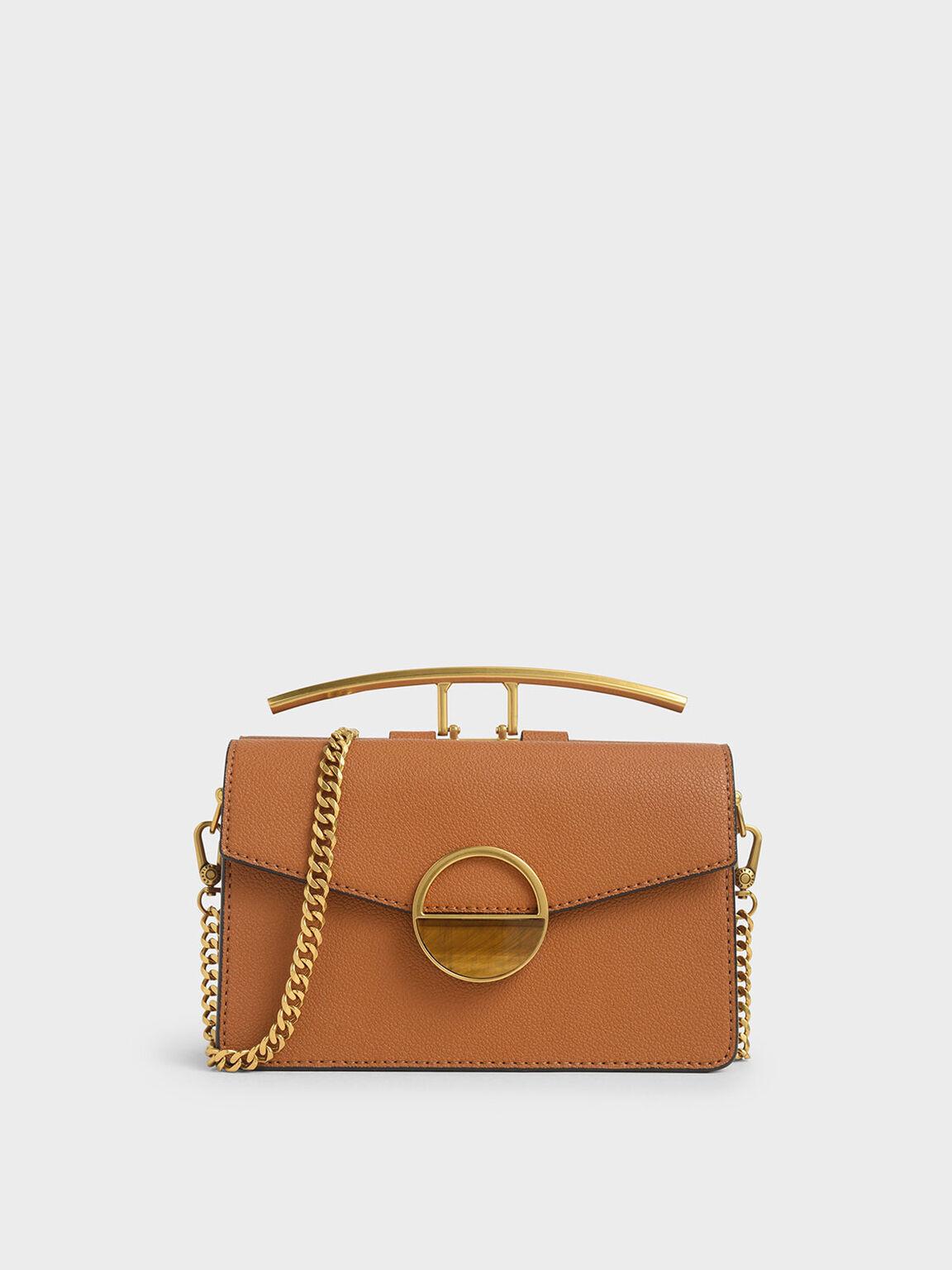 Stone Embellished-Buckle Shoulder Bag, Cognac, hi-res