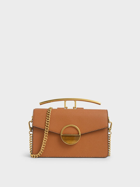 Stone Embellished-Buckle Shoulder Bag, Cognac, hi-res