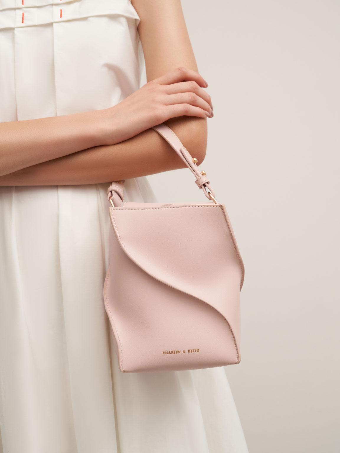 Sculptural Bucket Bag, Pink, hi-res