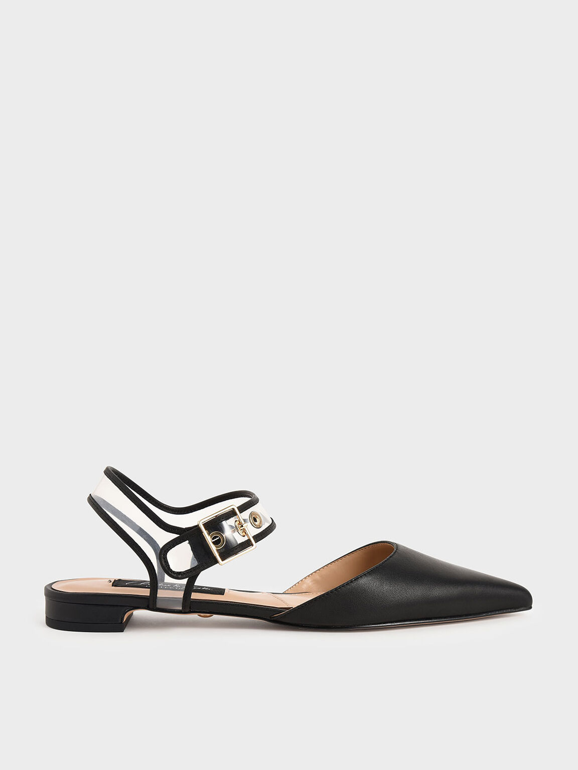 Leather Clear-Strap Flat Pumps, Black, hi-res