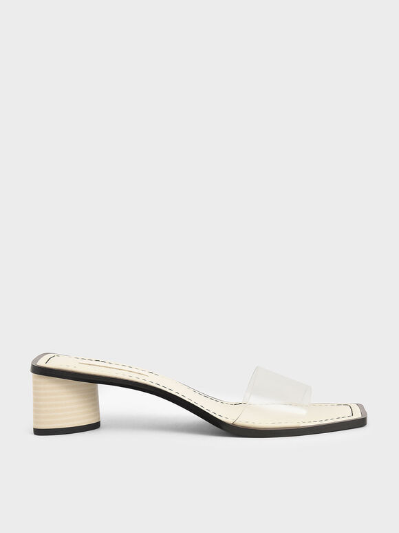 Clear Strap Mules, Cream, hi-res