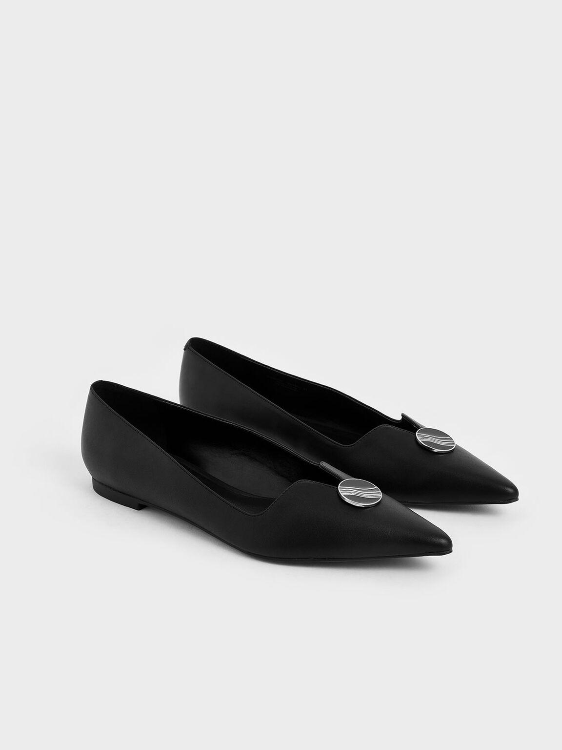 Button Detail Ballet Pumps, Black, hi-res