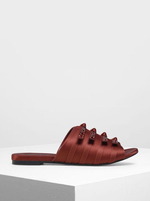 Bow Embellished Satin Slide Sandals, Burgundy, hi-res